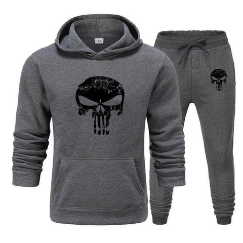 Sweat à capuche et Jogging Musculation Punisher gris foncé