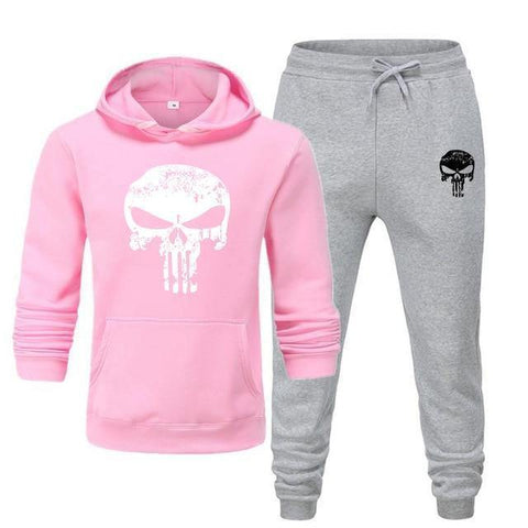 Sweat à capuche et Jogging Musculation Punisher rose et gris