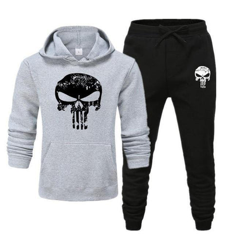 Sweat à capuche et Jogging Musculation Punisher gris et noir