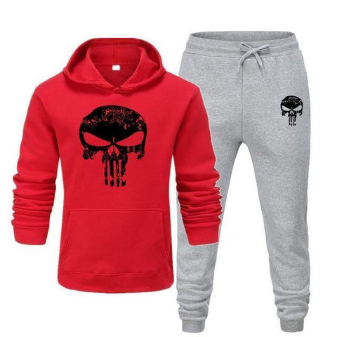 Sweat à capuche et Jogging Musculation Punisher rouge et gris