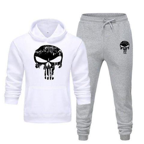 Sweat à capuche et Jogging Musculation Punisher blanc et gris