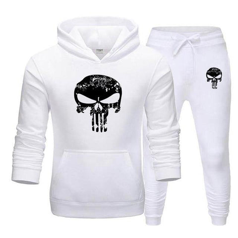 Sweat à capuche et Jogging Musculation Punisher blanc