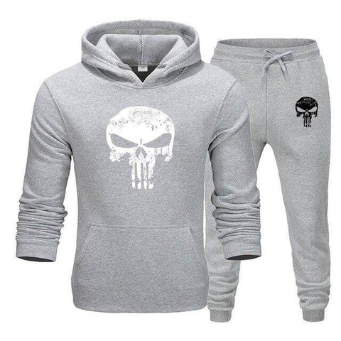 Sweat à capuche et Jogging Musculation Punisher gris clair