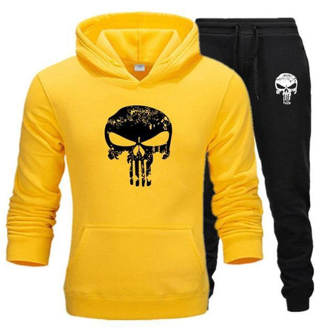 Sweat à capuche et Jogging Musculation Punisher jaune et noir