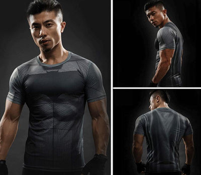 t-shirt compression super héros de musculation, bodybuilding, fitness et sport pour homme