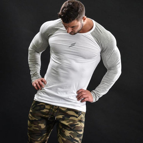 T-shirt Musculation manches longues blanc