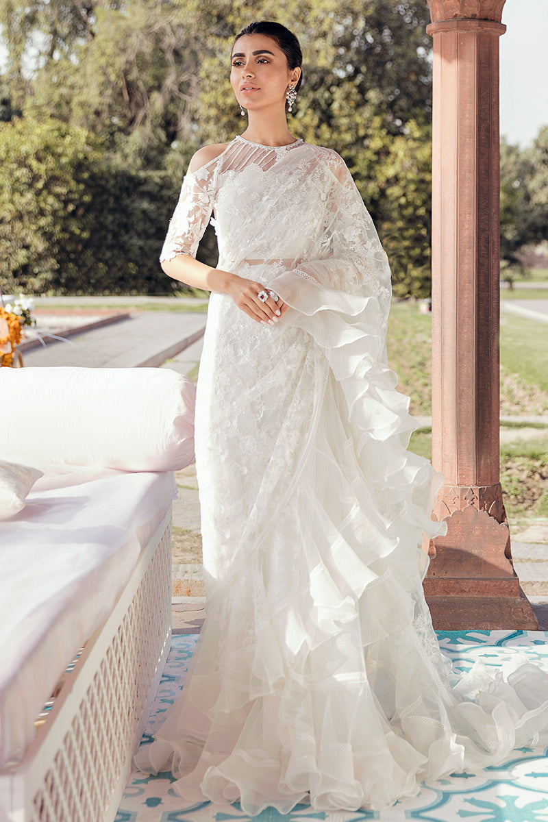 White Oslo Saree