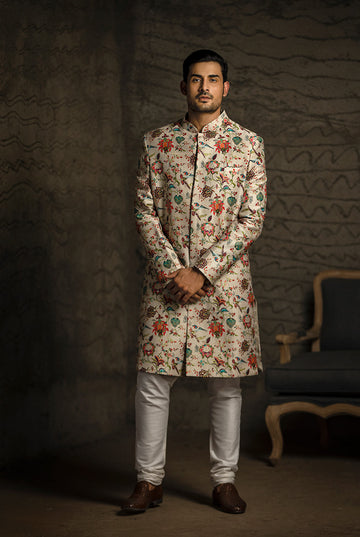 PS Men Printed Sherwani Set