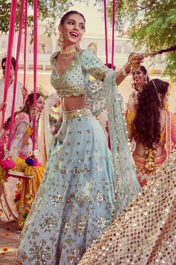 Powder Blue Raw Silk Lehenga Set
