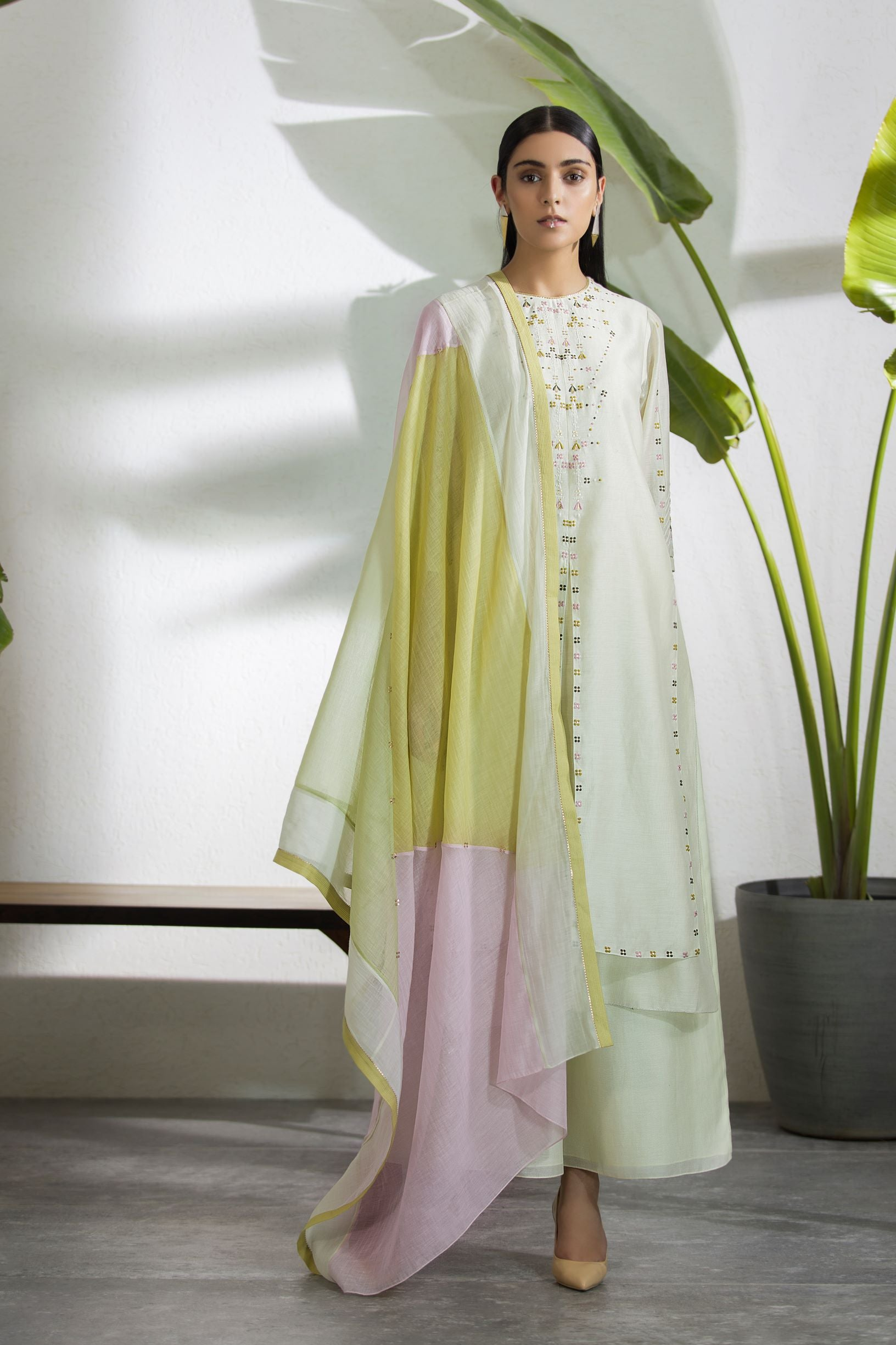 Light Mint Tunic Set With Contrast Dupatta