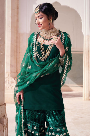 Green Sharara Set