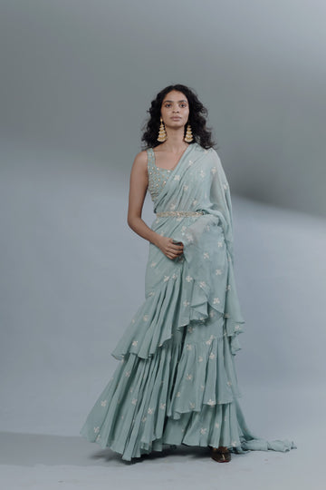 Sky Blue Drape Saree Set