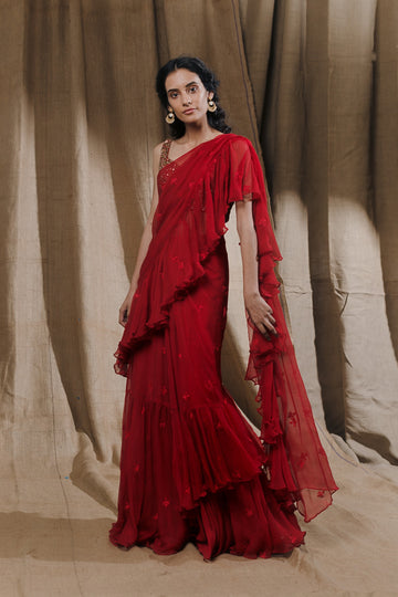 Red Ruffle Drape Saree