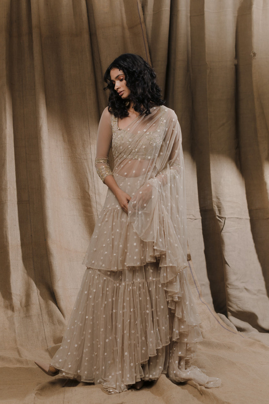 Beige Embellished Saree