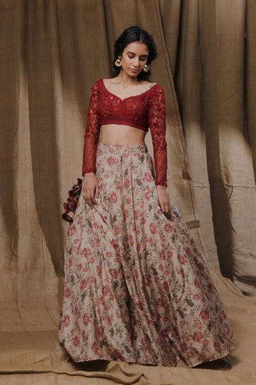 Floral Printed Lehenga with Deep Red Blouse