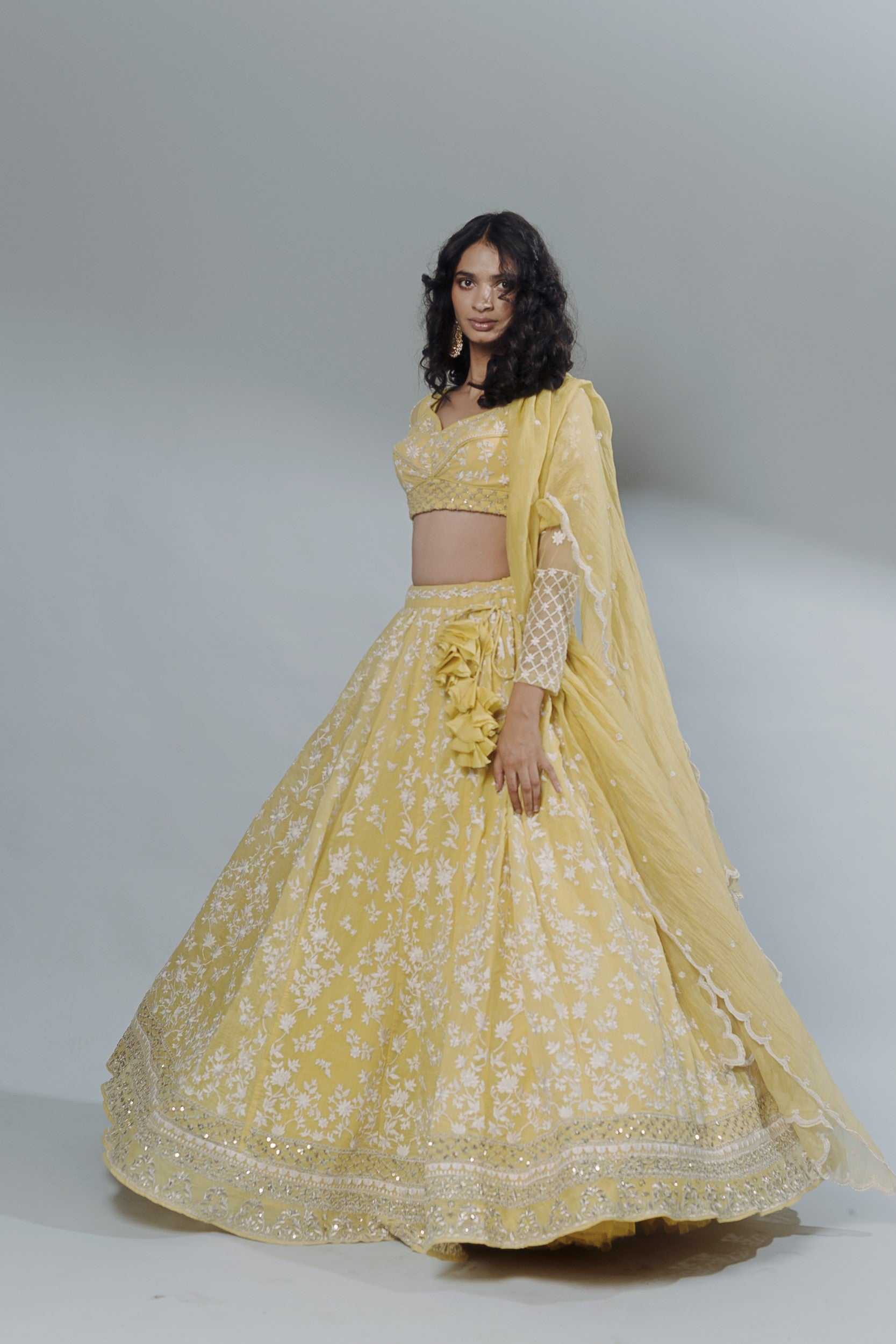 Lemon Yellow Threadwork Lehenga Set