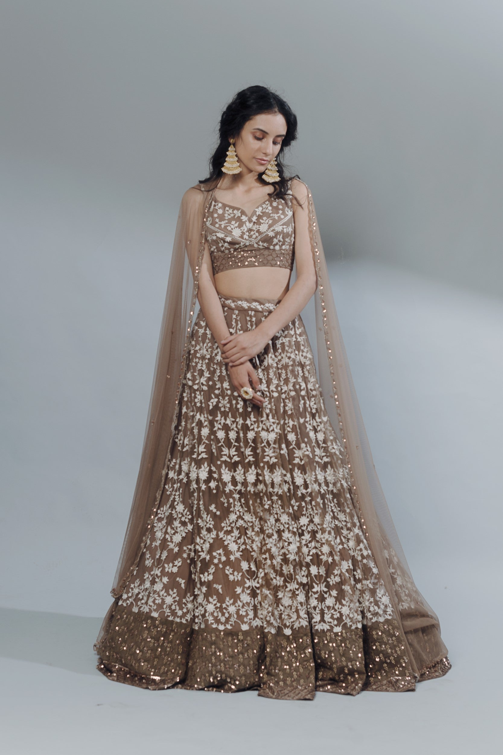 Coffee Threadwork Lehenga Set