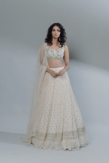 Off White Bootie Lehenga Set