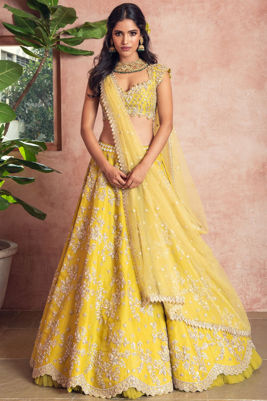 Yellow Scallop Lehenga
