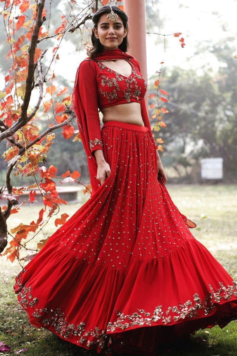 Red and gold georgette butti lehenga