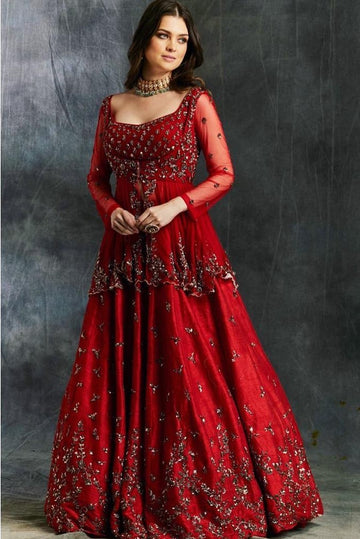 Red Rawsilk Lehenga with Peplum Blouse