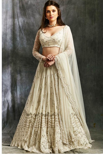 Ivory and Silver Sequin Net Lehenga