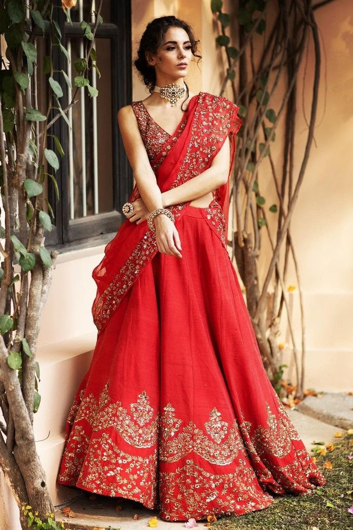 Red Rawsilk Lehenga with Antique Gold Work