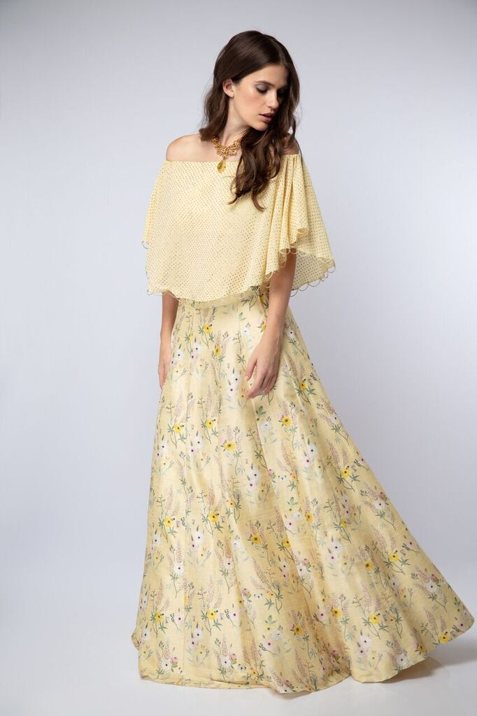 Yellow Off-Shoulder Garden Print Lehenga