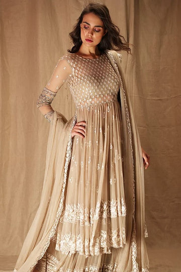Beige threadwork jacket and sharara