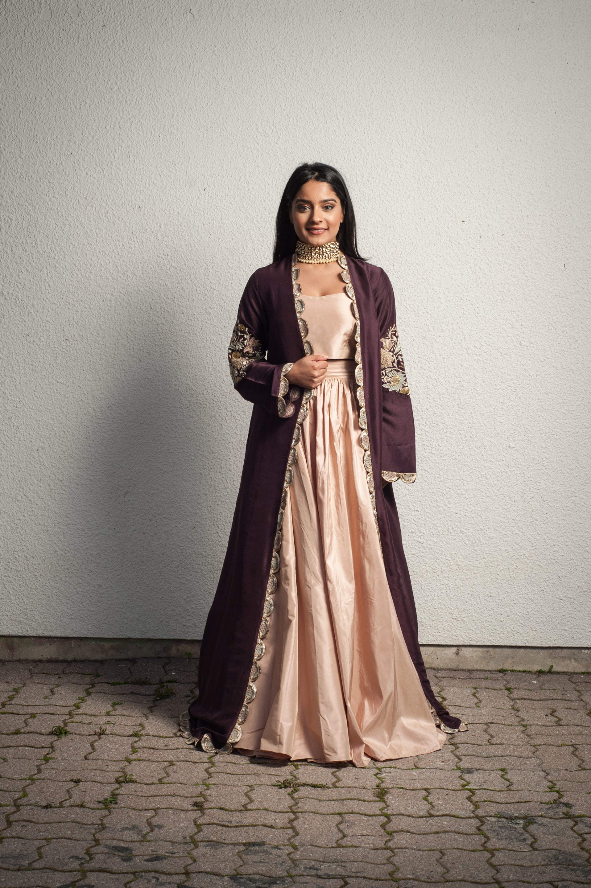BLUSH AND EGGPLANT CAPE LEHENGA
