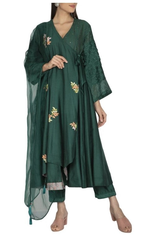 Bottle Green Anarkali