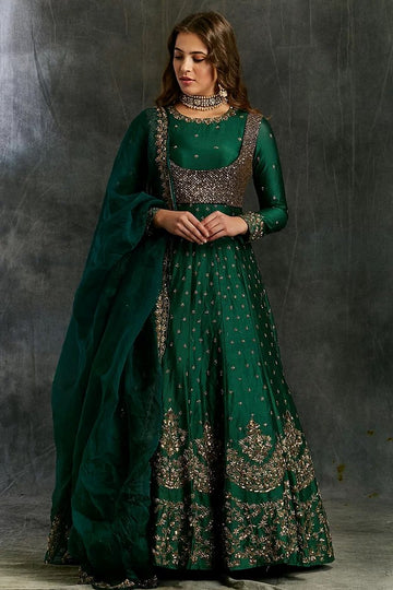Emerald Green Anarkali with Sequin Koti