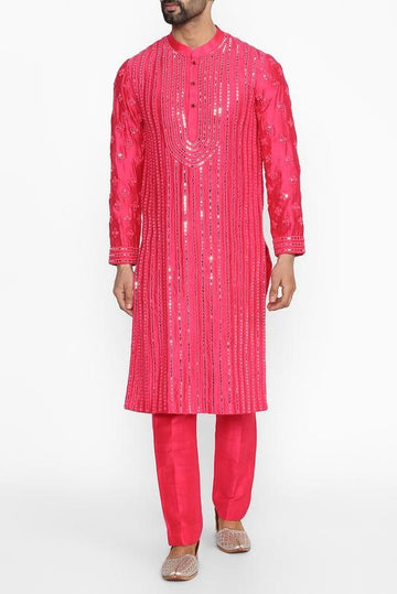 Hot Pink Embellished Kurta Set