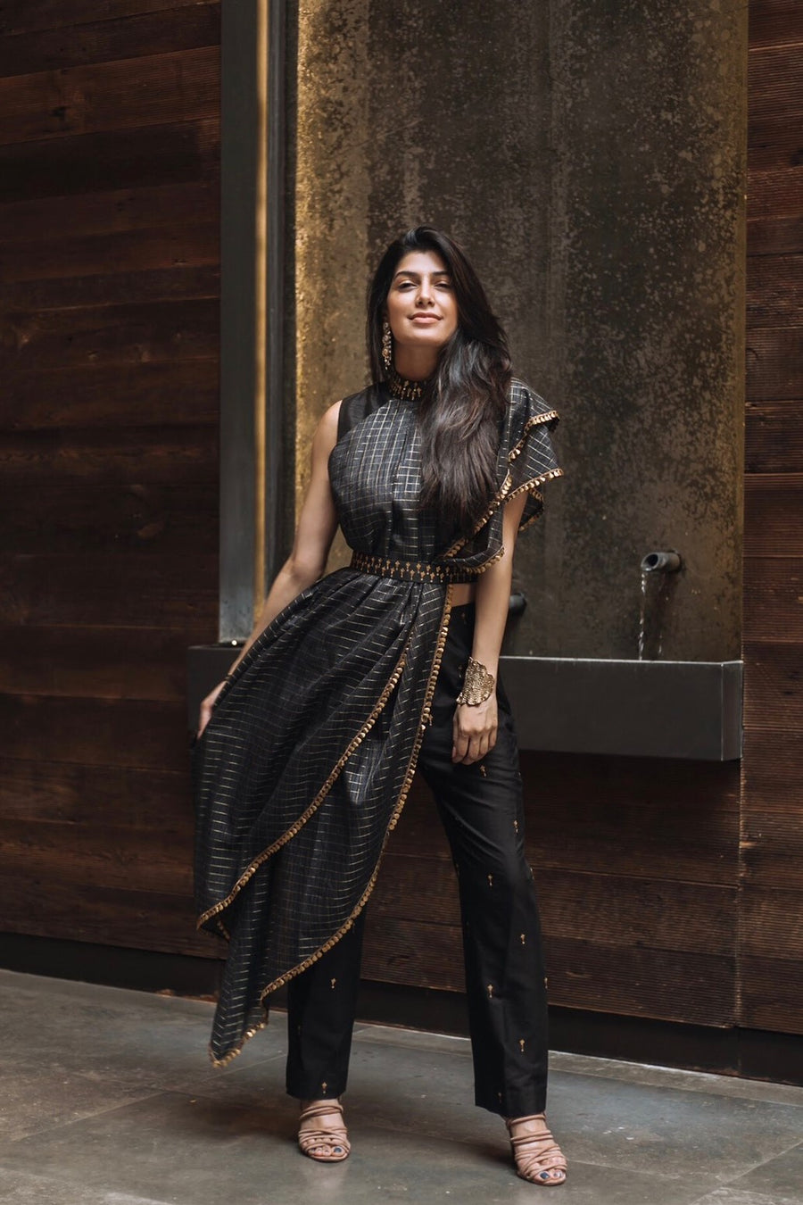 Crop Top with Saree Drape and Pants