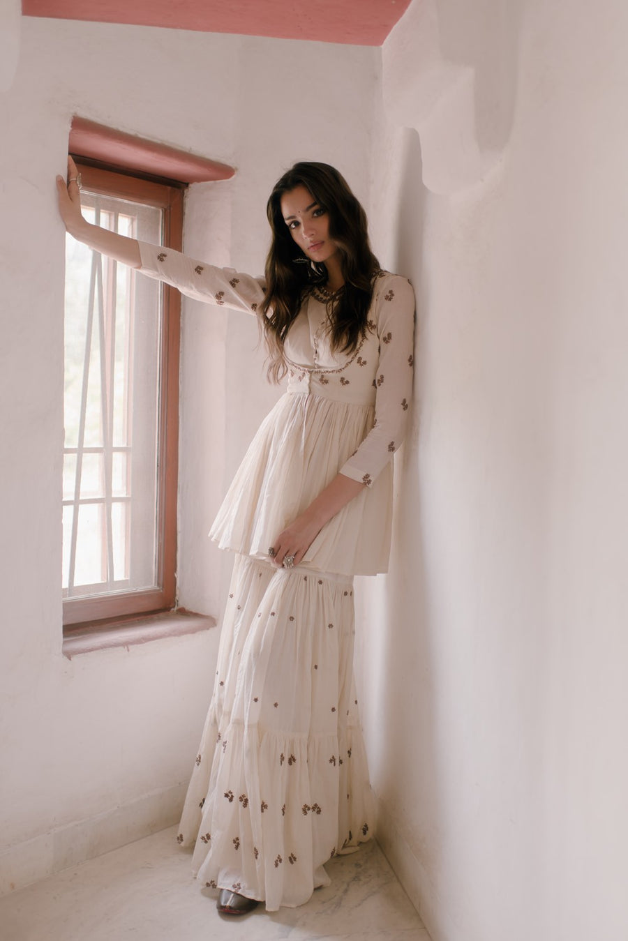 White Kurti and Sharara Set
