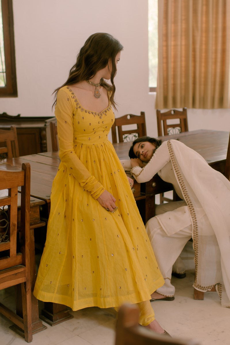 Yellow Anarkali with Churidar