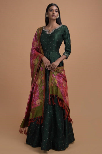 Hunter Green Anarkali with Patola Print Dupatta