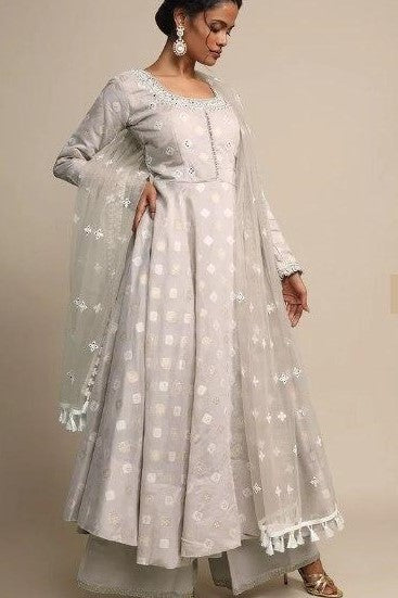 Grey Anarkali and Palazzo Set