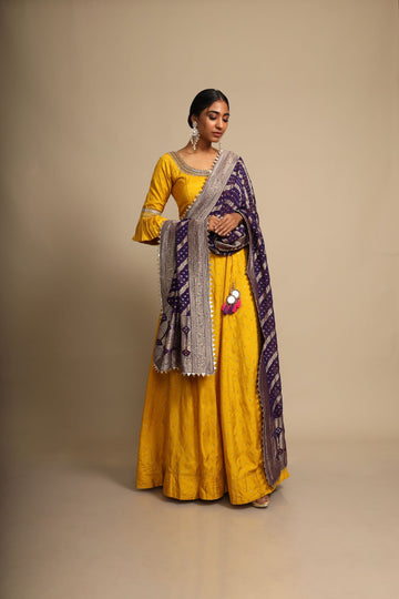 Mustard Anarkali with Navy Bandhani Dupatta