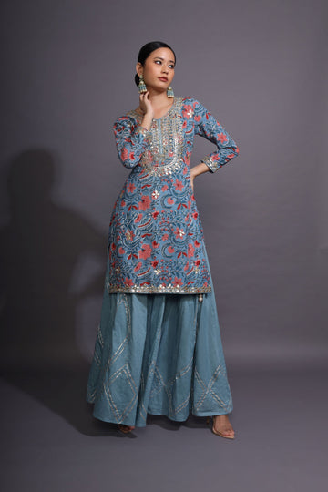 Airforce Blue Sharara Set