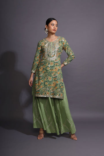 Moss Green Sharara Set
