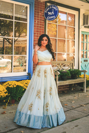 Sky Blue Lehenga with Drape Blouse