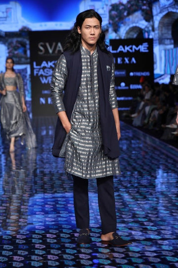 Galeecha Print Kurta with Denim Shawl Collar Jacket