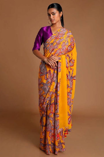 Yellow Wild Flowers Saree with Purple Blouse