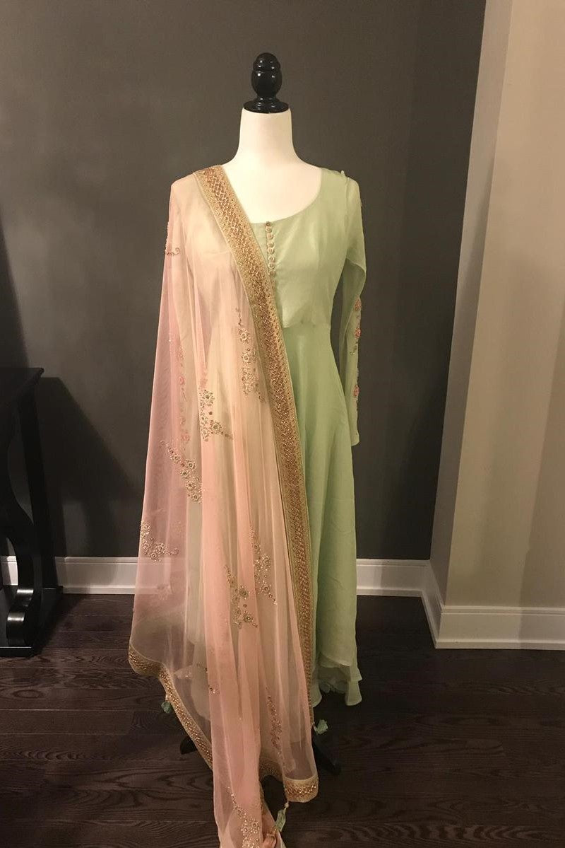 Mint and Pink Anarkali