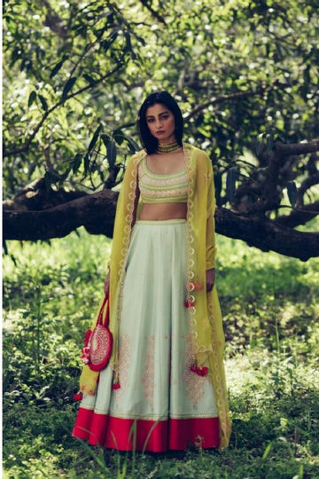 Eggshell Blue Olive and Red Lehenga