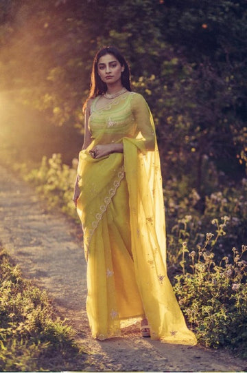 Olive Green Organza Saree