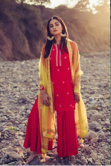 Poppy Red and Olive Kurta Set