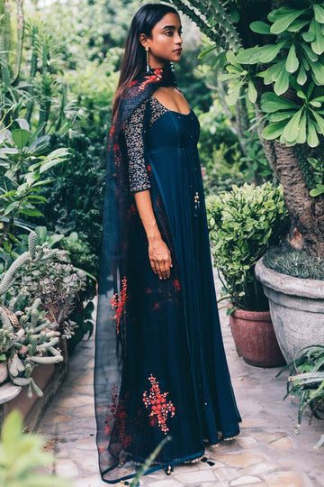 Navy Pleated Anarkali