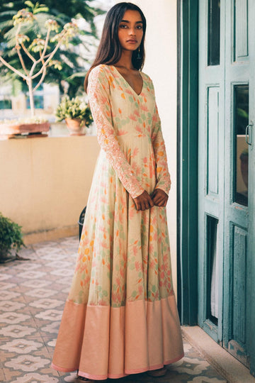 Peach Printed Anarkali